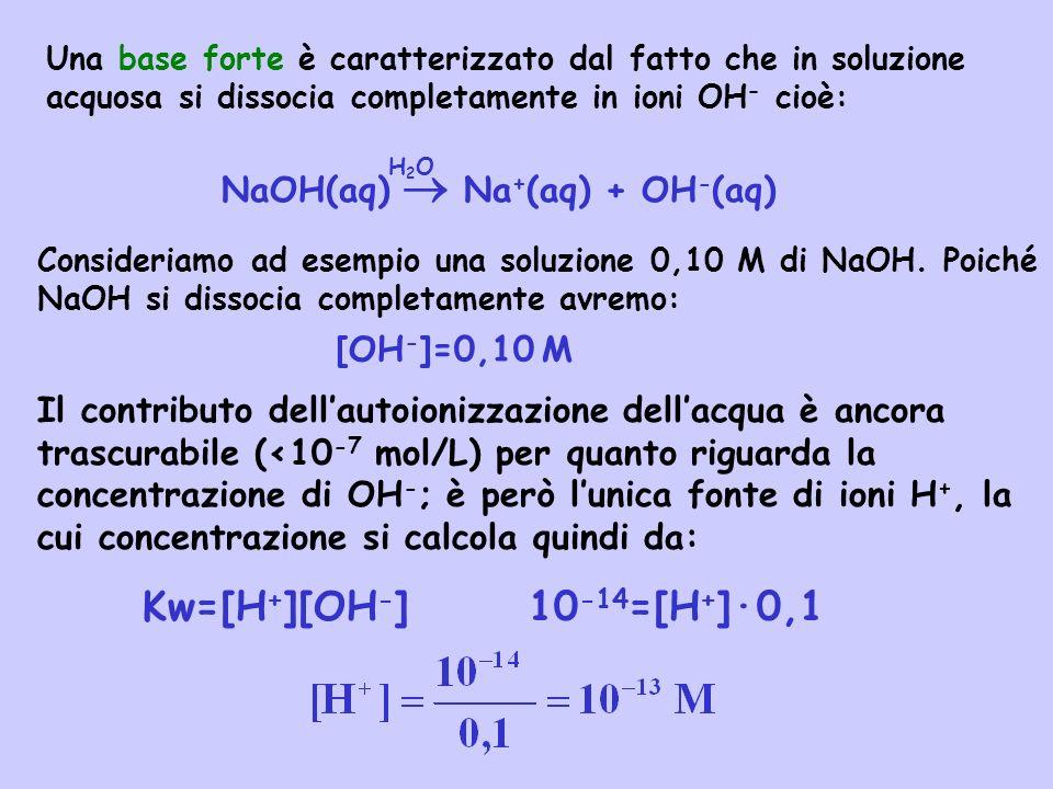 Kw=[H+][OH-] 10-14=[H+]·0,1 NaOH(aq)  Na+(aq) + OH-(aq) [OH-]=0,10 M